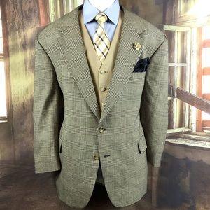 Blazer vintage Nordstrom check plaid wool 44R